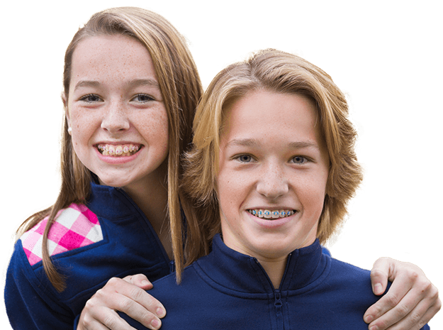 Young boy and girl with braces