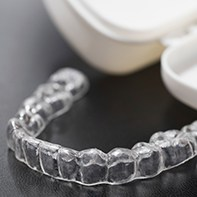 Clear aligner sitting on table
